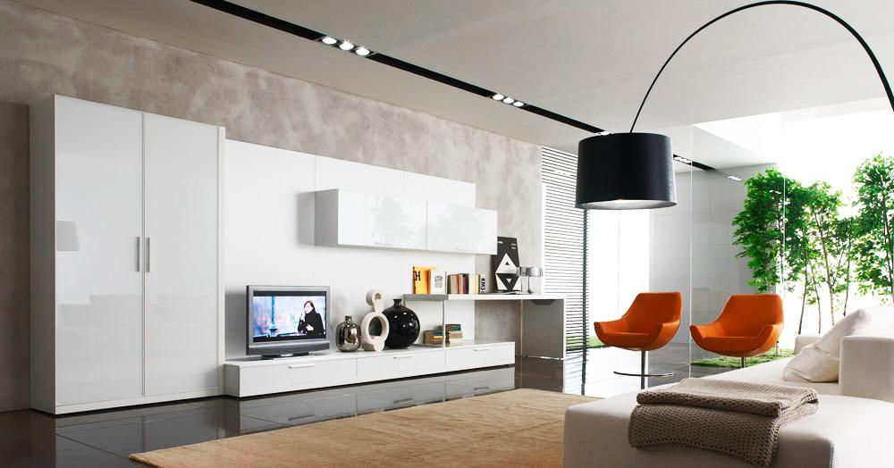 decoração moderna neutro e laranja