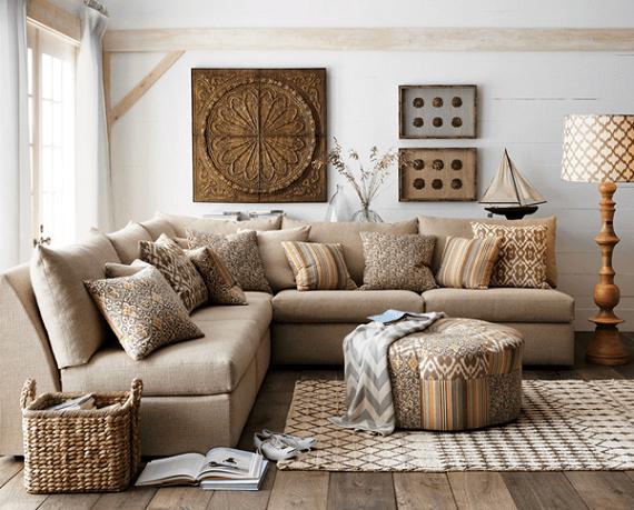 decoração-de-sala-com-sofa-em-L