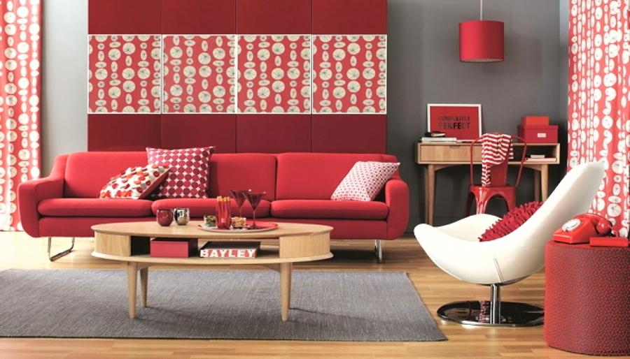 sala retrô vermelha