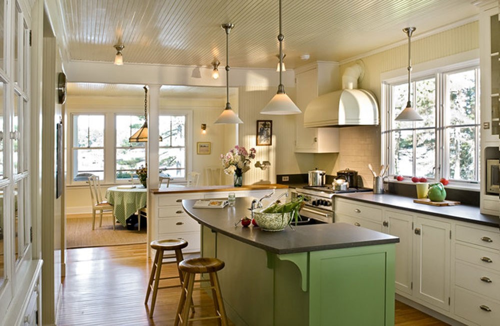 cozinha retrô bancada verde