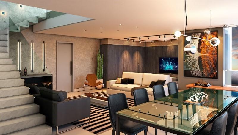Sala de jantar e estar Empreendimento residencial Edifício Arnoni