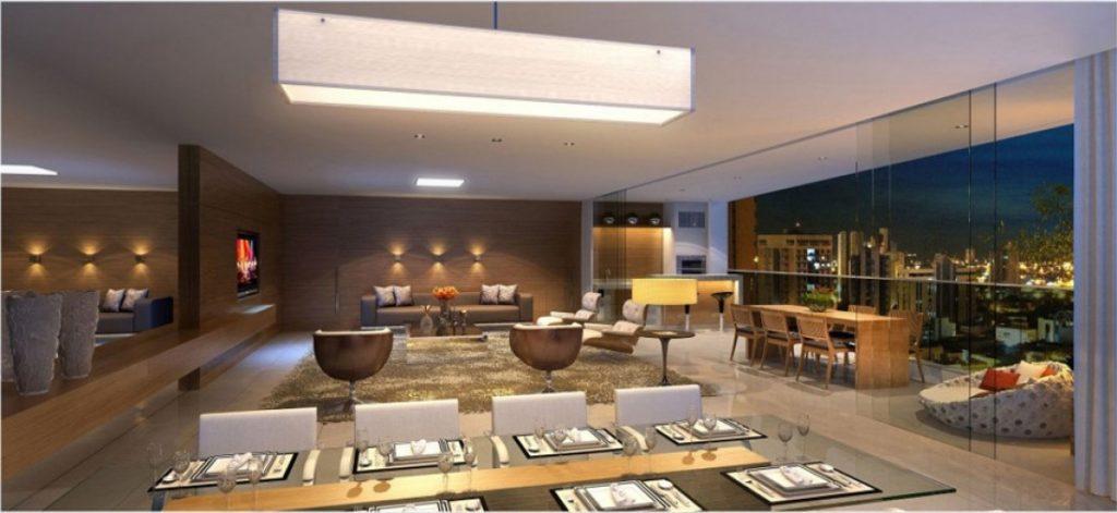 Sala de jantar integrada a sala de estar e varanda  Empreendimento residencial Edifício Yora