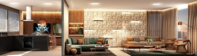 Sala para dois ambientes Empreendimento residencial Edifício Arnoni