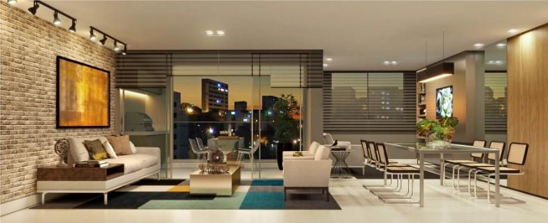 Sala de jantar e estar Empreendimento residencial Edifício Yora