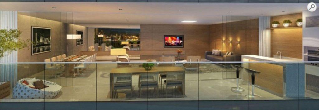 Sala de jantar e estar integrada a varanda  Empreendimento residencial Edifício Yora